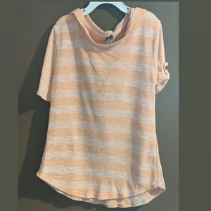 Poof girl rolled sleeve peach and cream stripe top